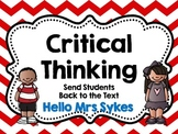 Critical Thinking Questions, Comprehension for any Book!