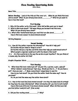 Close Reading Lesson Plan, Assessment: Use with Any Book: Critical Thinkng