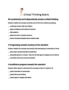 Critical Thinking Rubric For Common Core