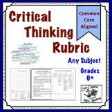Critical Thinking Rubric for Writing & Projects - Suitable for All Subject Areas