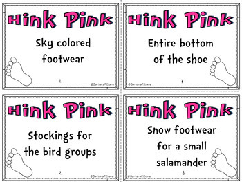 HINK PINKS HINKY PINKIES Foot Theme Critical Thinking Vocabulary Development