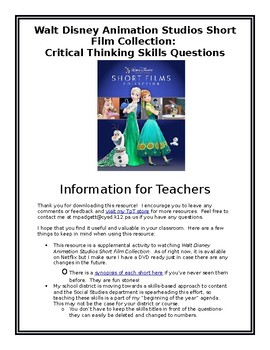 Critical Thinking Skills: Walt Disney Animation Studios Short Film Collection