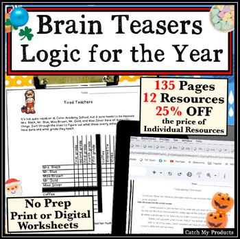 Critical Thinking Skills / Brain Teasers Logic Puzzles: Year Round MEGA-Bundle