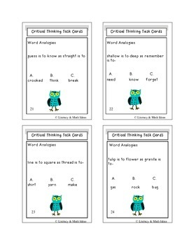 Critical Thinking Task Cards