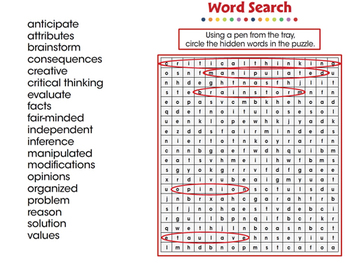 Critical Thinking: Word Search - NOTEBOOK Gr. 3-8