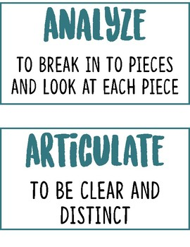 Critical Thinking Word Wall Words