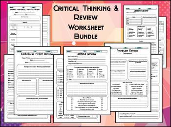Critical Thinking Writing Prompt Worksheet Bundle