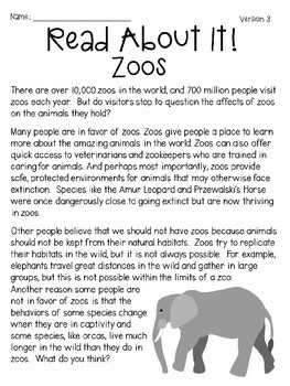 Critical Thinking: Zoos (Passages and Responses) *Distance Learning Friendly*