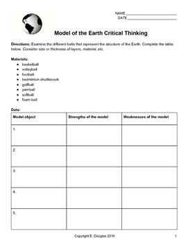 Critical Thinking about Earth Models