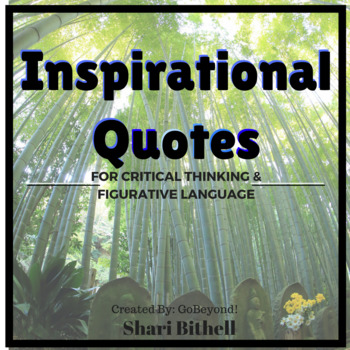 Figurative Language and Critical Thinking with Inspirational Quotes