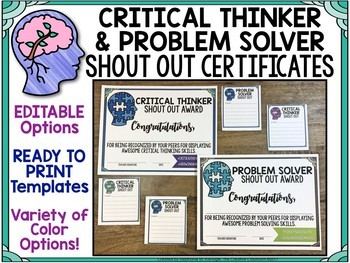 Critical Thinking and Problem Solving Student Shout Outs and Awards
