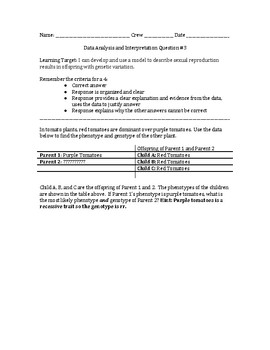 Critical Thinking with Genetics Question 4