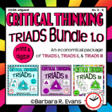 CRITICAL THINKING BUNDLE Triads 1.0 Task Cards Literacy Centers Vocabulary