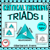 CRITICAL THINKING with TRIADS I Word Relationships Literacy Center Task Cards