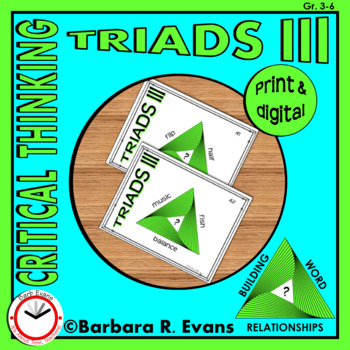 CRITICAL THINKING with TRIADS III Word Relationships Literacy Center Task Cards