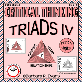 CRITICAL THINKING with TRIADS IV Word Relationships Literacy Center Task Cards