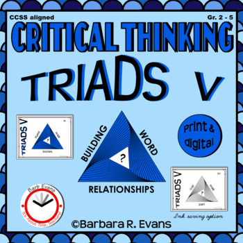 CRITICAL THINKING with TRIADS V Word Relationships Literacy Center Task Cards