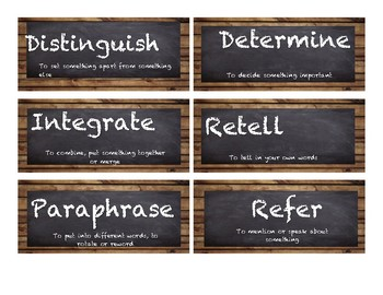 Critical Verb Word Cards