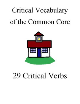Critical Vocabulary, Common Core Verbs, notecards