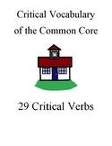 Critical Vocabulary, Common Core Verbs, notecards