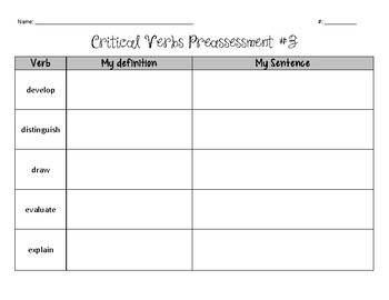 Critical Verbs Preassessment