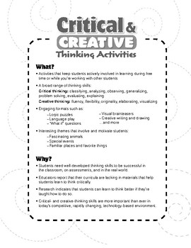 Critical and Creative Thinking Activities, Grade 6