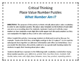 Critical and Creative Thinking Place Value Number Puzzles