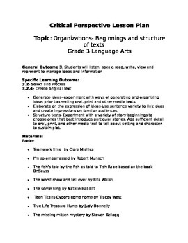 Critical perspective lesson plans grade 3
