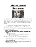 Critical response instructions and rubric