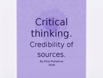 Critical thinking. Credibility of sources.