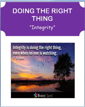 """""""Doing the Right Thing"""" lesson, 2 activities"""