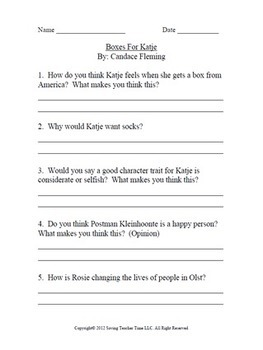 Critical thinking questions to: Ramona and Her Father By: