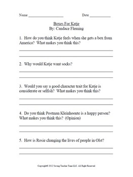 Critical thinking questions to- Sounder By: William H. Armstrong