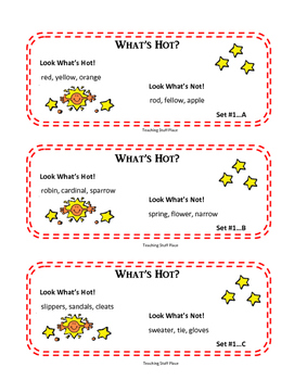 Vocabulary | What's Hot! | Task Cards Activity | Gr 2-3 | Critical Thinking