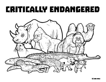 Critically Endangered Animals -- Wildlife Coloring Page