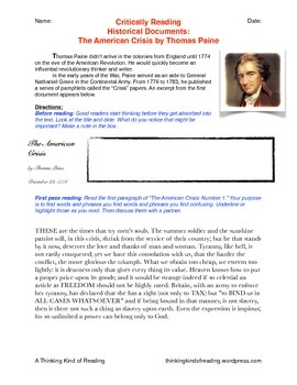 Critically Reading Historical Documents: The American Crisis by Thomas Paine