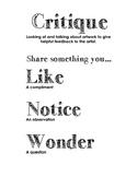 Critique Poster: Like, Notice, Wonder