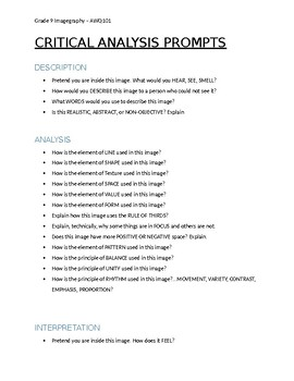 Critique Prompts- Questions for Critical Analysis - ART
