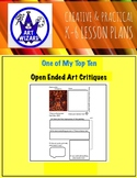 ART Critique, Open-Ended  (6 Printable Art Worksheets), Art Lesson