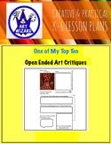 ART Critique, Open-Ended  (6 Printable Art Worksheets), Ar