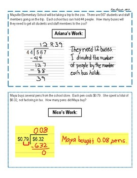 Critiquing Student Work - Dividing by Whole Numbers & Decimals