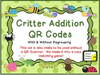 QR Critter Codes ~ Double Digit Addition (With and Without