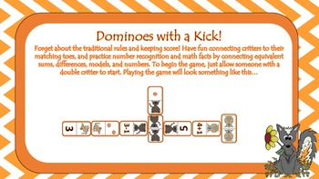 Critter Toes Dominoes (Math Fact Game)
