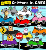 Critters in Colorful Cars Clip Art Download