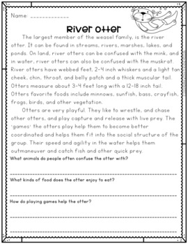 Critters in the Woodlands No Prep Printables Non-fiction Passages