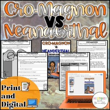 Cro-Magnon VS Neanderthal Activity {Digital AND Paper}