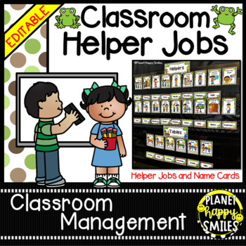 Classroom Helper Jobs (EDITABLE) ~ Froggy Theme