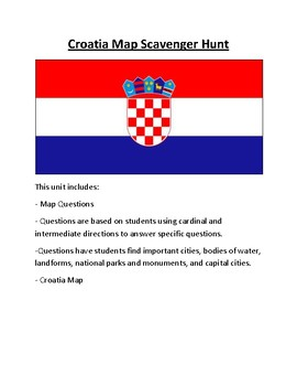 Croatia Map Scavenger Hunt