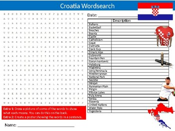 Croatia Wordsearch & Anagrams Puzzle Sheet Keywords Country Geography