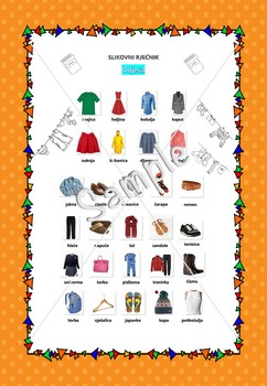 Croatian clothes picture dictionary